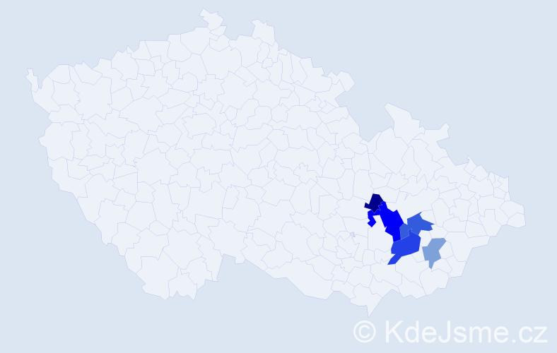 Příjmení: 'Bezslezina', počet výskytů 17 v celé ČR