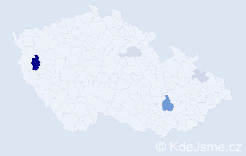 Příjmení: 'Bárdy', počet výskytů 8 v celé ČR