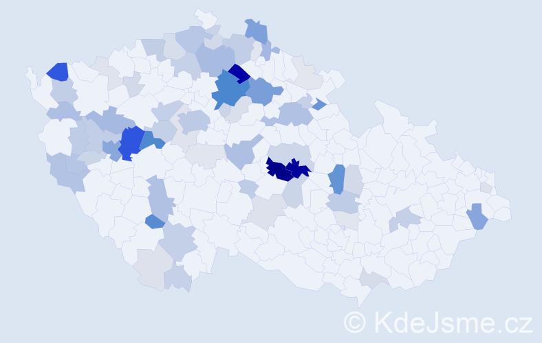 Příjmení: 'Kavalír', počet výskytů 286 v celé ČR