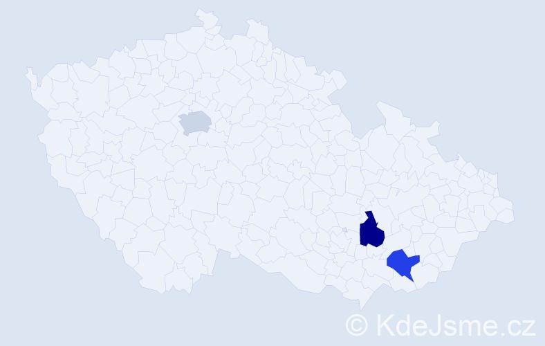 Příjmení: 'Haládik', počet výskytů 3 v celé ČR