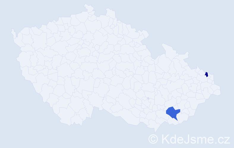 Příjmení: 'Gabáni', počet výskytů 5 v celé ČR