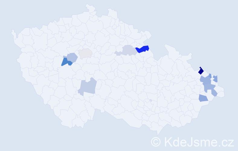 Příjmení: 'Depta', počet výskytů 23 v celé ČR