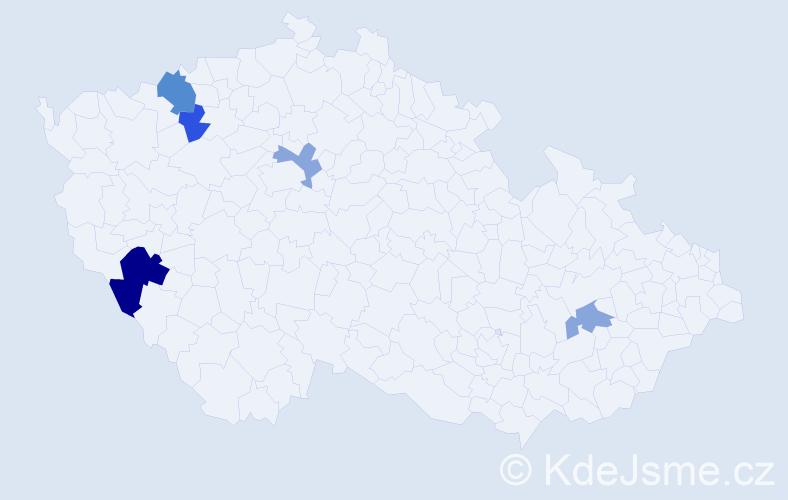 Příjmení: 'Jáchymovská', počet výskytů 8 v celé ČR