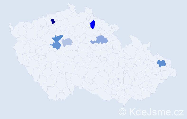 Příjmení: 'Mandryková', počet výskytů 14 v celé ČR