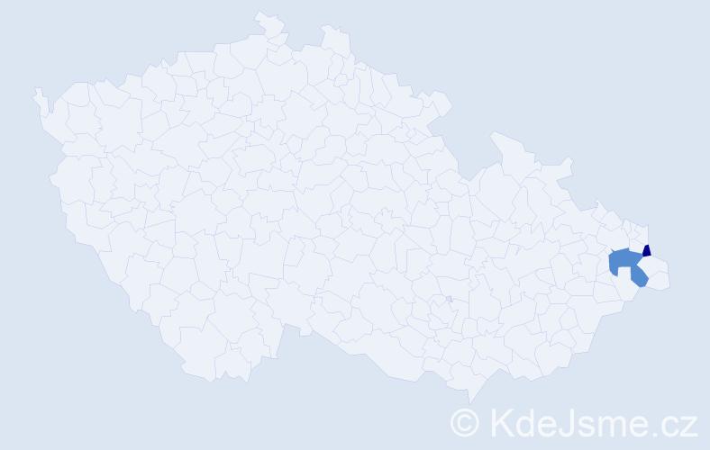 Příjmení: 'Helstein', počet výskytů 5 v celé ČR