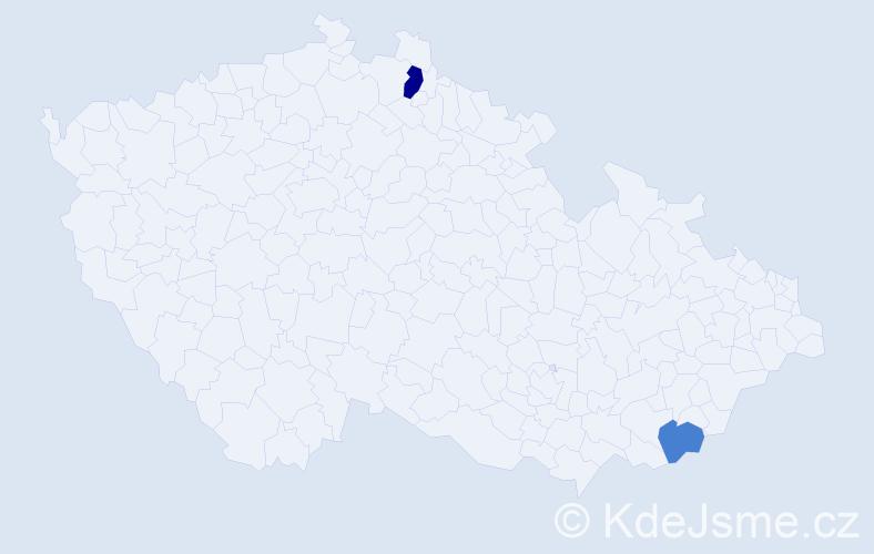 Příjmení: 'Červenová', počet výskytů 3 v celé ČR