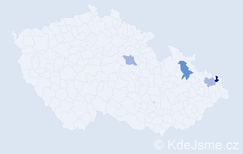 Příjmení: 'Kafurová', počet výskytů 7 v celé ČR