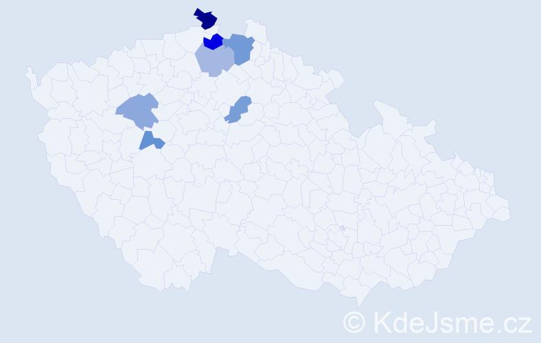 Příjmení: 'Abramcová', počet výskytů 12 v celé ČR