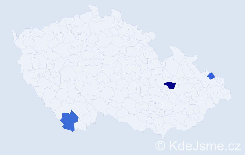 Příjmení: 'Daševský', počet výskytů 3 v celé ČR