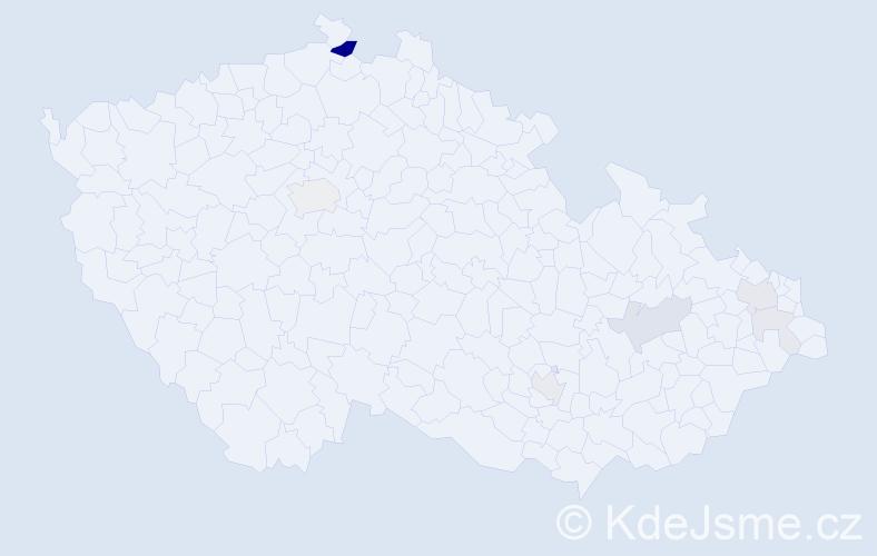 Příjmení: 'Hocko', počet výskytů 20 v celé ČR