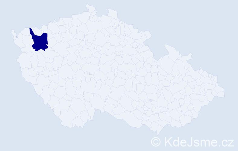 """Příjmení: '""""Černošek Fikarová""""', počet výskytů 1 v celé ČR"""