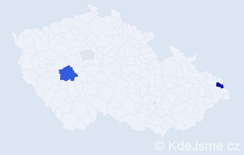 Příjmení: 'Kaplán', počet výskytů 8 v celé ČR