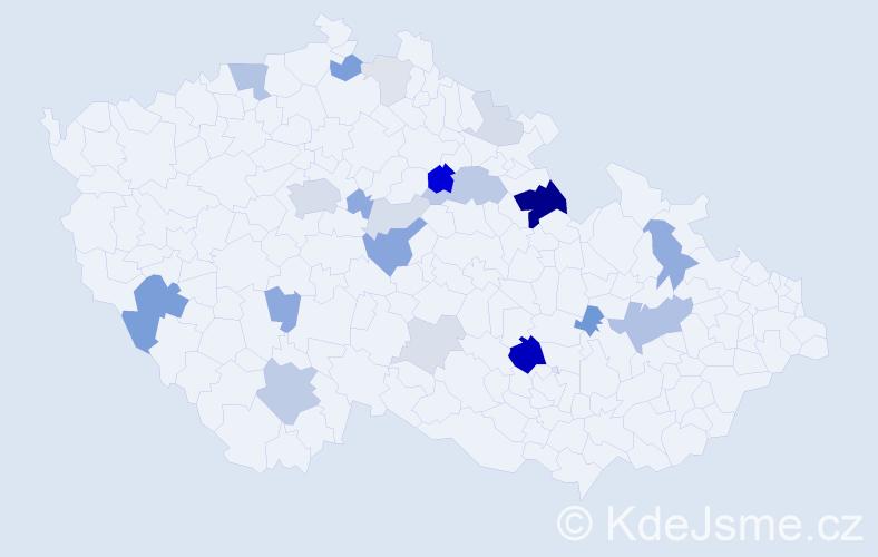 Příjmení: 'Kluger', počet výskytů 60 v celé ČR