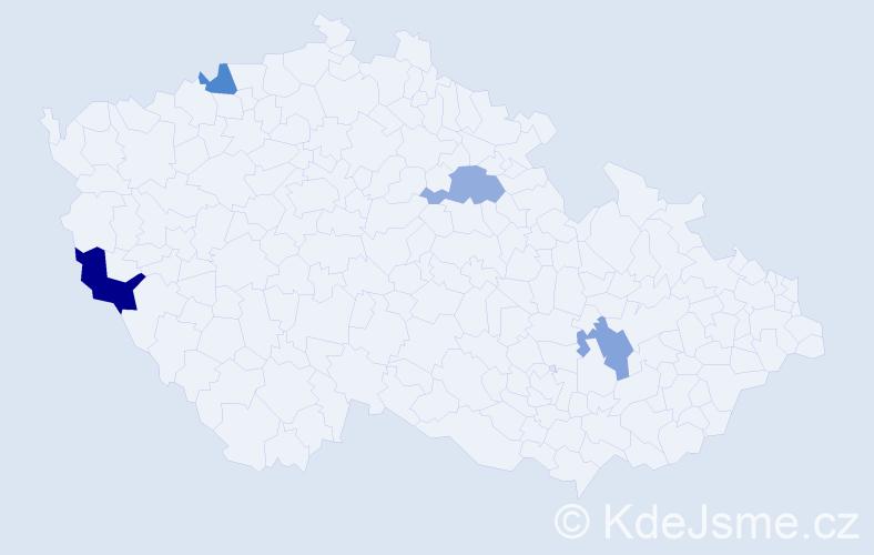 Příjmení: 'Han', počet výskytů 5 v celé ČR