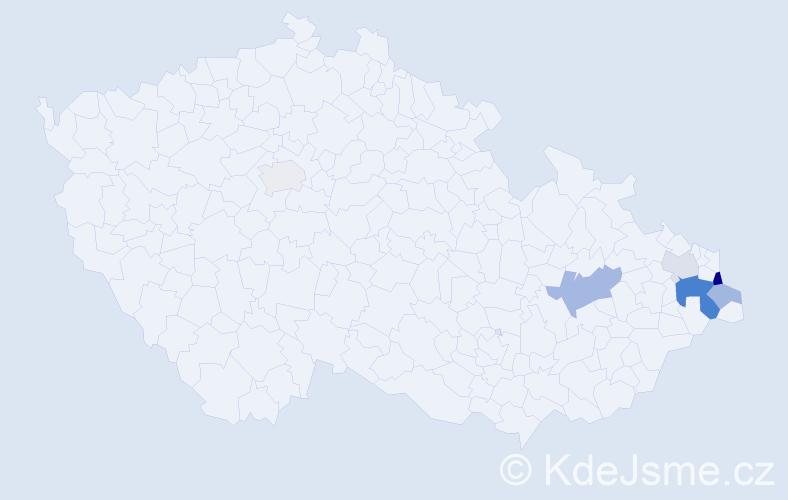 Příjmení: 'Kocych', počet výskytů 13 v celé ČR