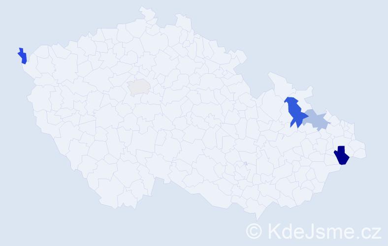 Příjmení: 'Ganz', počet výskytů 7 v celé ČR