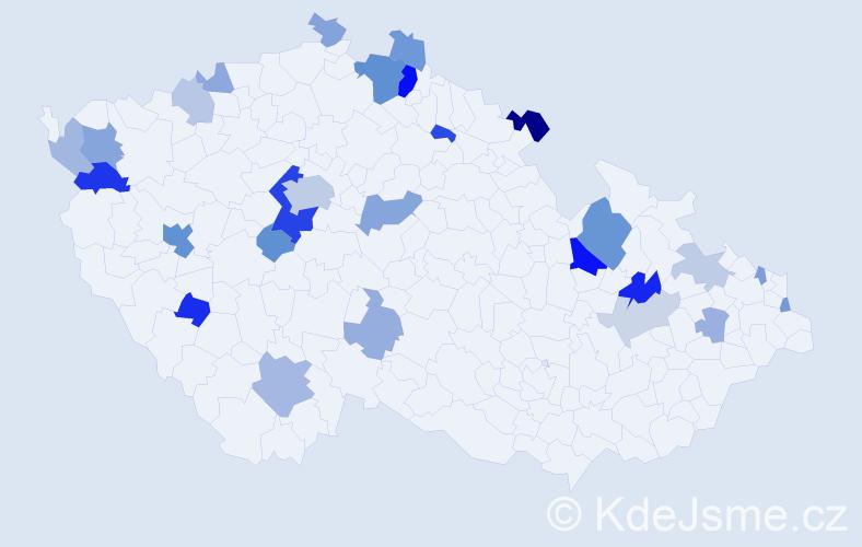 Příjmení: 'Kretschmerová', počet výskytů 63 v celé ČR