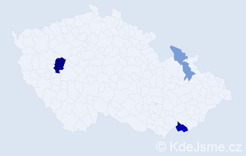Příjmení: 'Kudielková', počet výskytů 9 v celé ČR