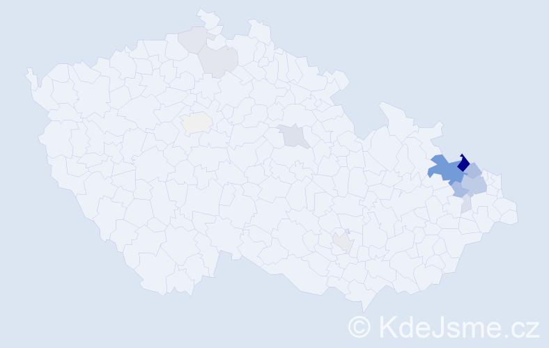 Příjmení: 'Grygarčík', počet výskytů 49 v celé ČR