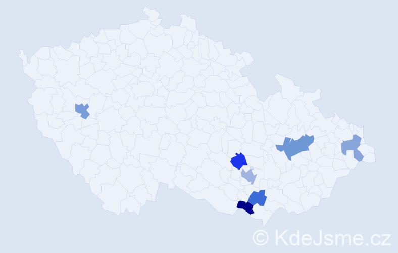 Příjmení: 'Hirschnerová', počet výskytů 11 v celé ČR