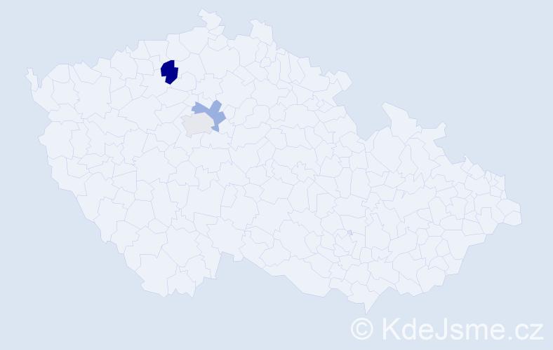 Příjmení: 'Kmječ', počet výskytů 8 v celé ČR