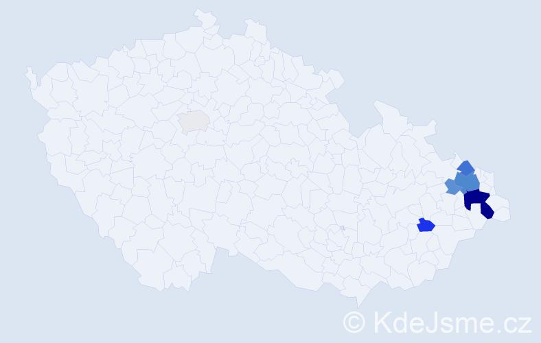 Příjmení: 'Kantoš', počet výskytů 22 v celé ČR