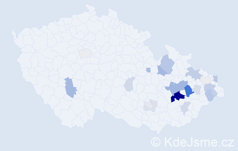 Příjmení: 'Haluzík', počet výskytů 72 v celé ČR
