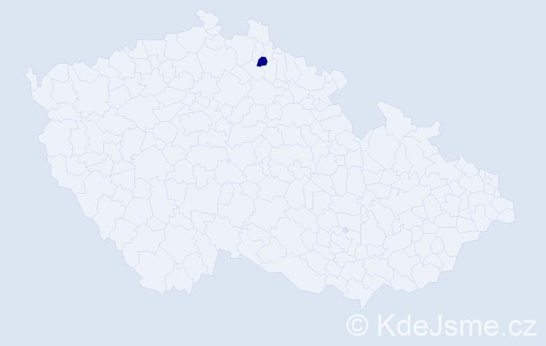 """Příjmení: '""""Číla Malá""""', počet výskytů 1 v celé ČR"""