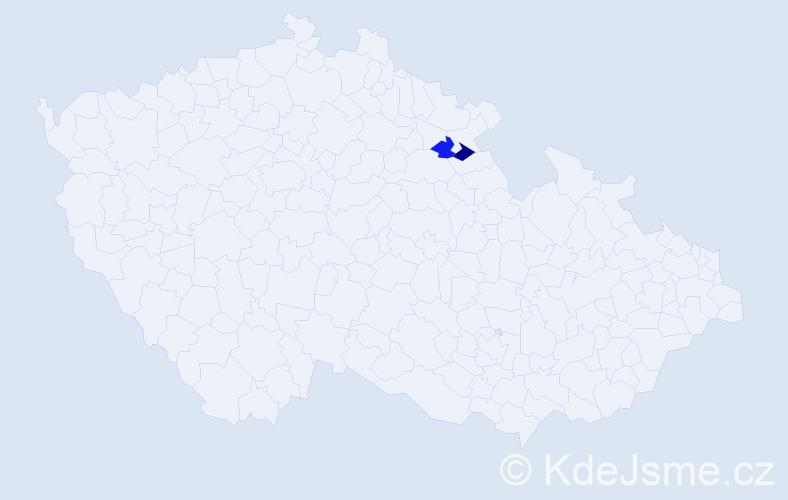 Příjmení: 'Cestická', počet výskytů 4 v celé ČR
