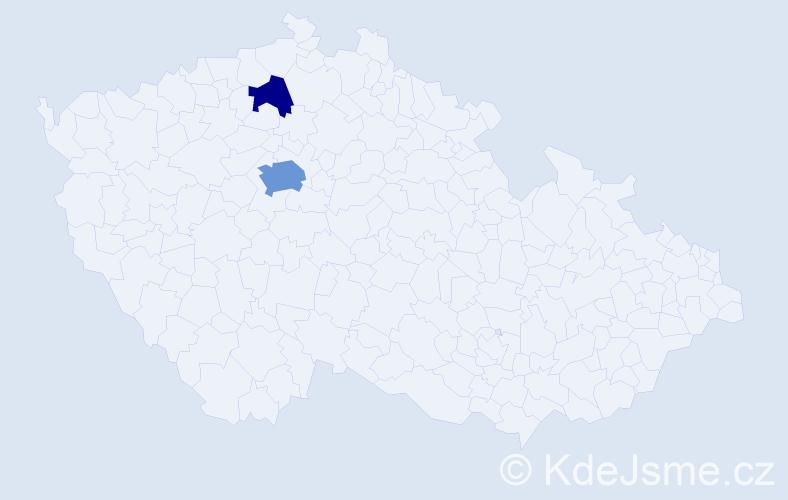 Příjmení: 'Klykorková', počet výskytů 5 v celé ČR