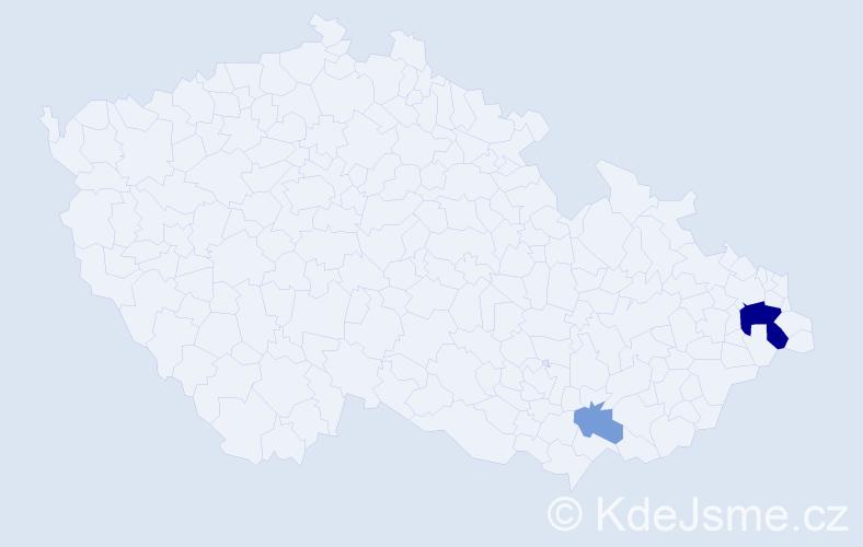 Příjmení: 'Čapatá', počet výskytů 6 v celé ČR