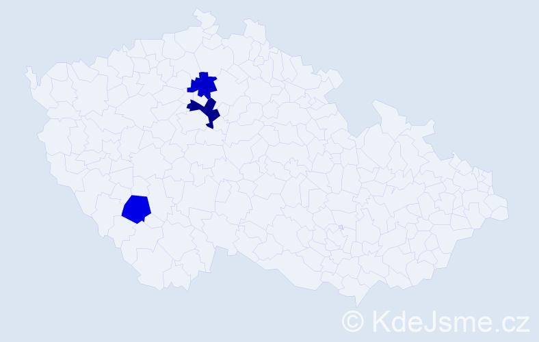 Příjmení: 'Činovský', počet výskytů 4 v celé ČR