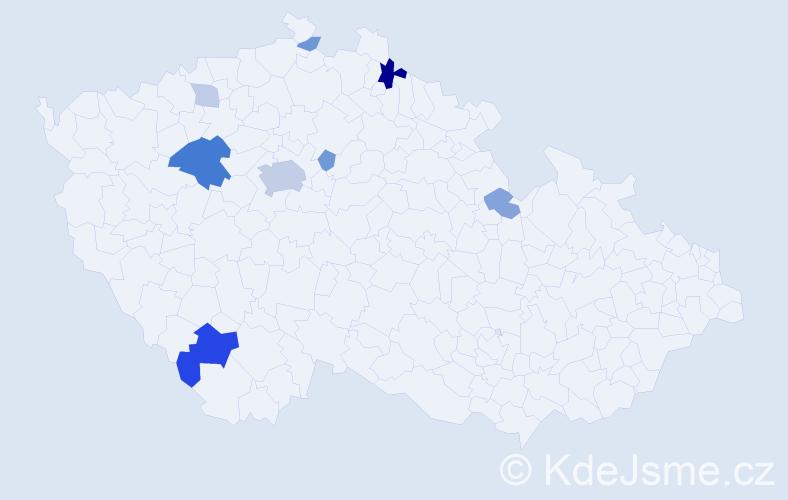 Příjmení: 'Balcer', počet výskytů 23 v celé ČR