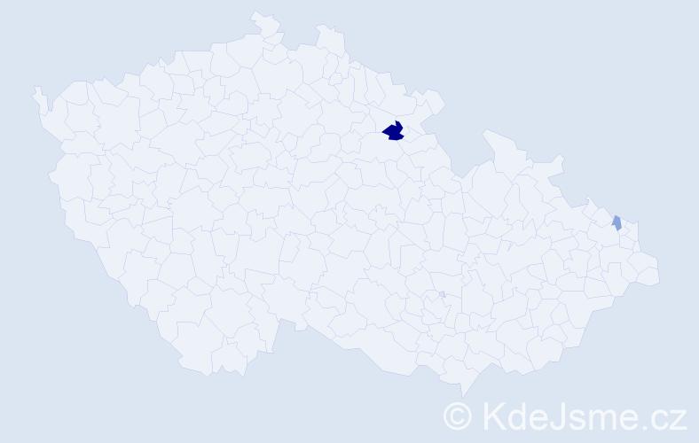 Příjmení: 'Karoli', počet výskytů 4 v celé ČR