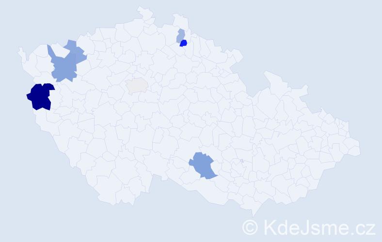 Příjmení: 'Babinová', počet výskytů 12 v celé ČR