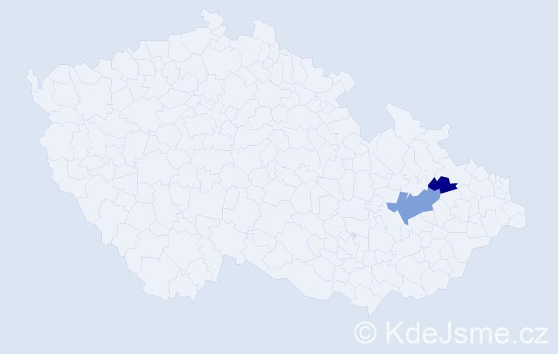 Příjmení: 'Glauder', počet výskytů 13 v celé ČR