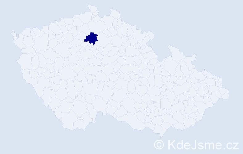 """Příjmení: '""""Cappelletti Litomyská""""', počet výskytů 1 v celé ČR"""