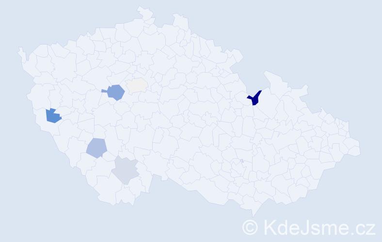 Příjmení: 'Heregová', počet výskytů 14 v celé ČR
