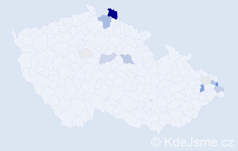Příjmení: 'Čverčková', počet výskytů 21 v celé ČR