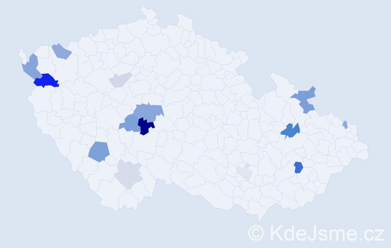 Příjmení: 'Kakašová', počet výskytů 23 v celé ČR