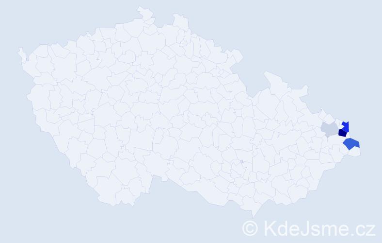 Příjmení: 'Kajura', počet výskytů 11 v celé ČR
