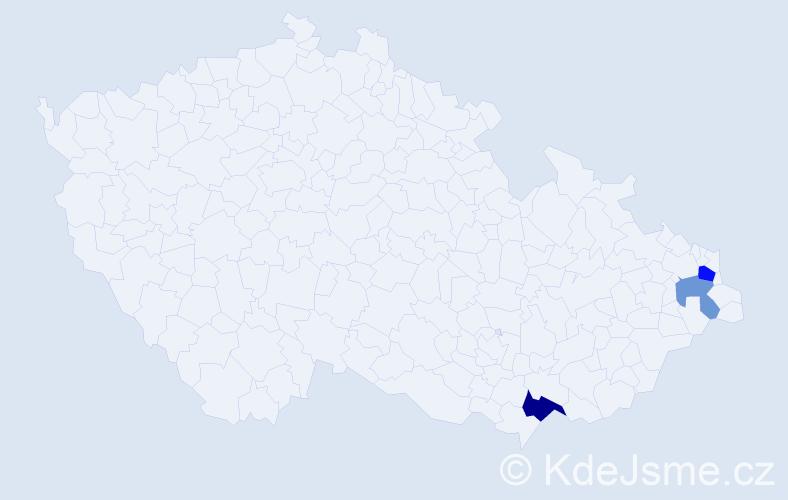Příjmení: 'Lastovička', počet výskytů 5 v celé ČR