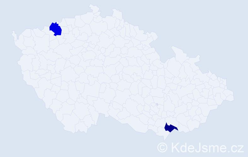 Příjmení: 'Gažíová', počet výskytů 4 v celé ČR