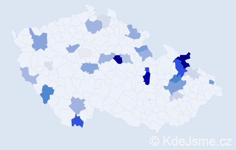 Příjmení: 'Balint', počet výskytů 65 v celé ČR