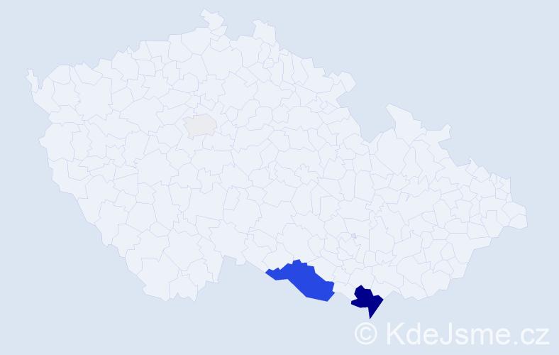 Příjmení: 'Davčíková', počet výskytů 12 v celé ČR