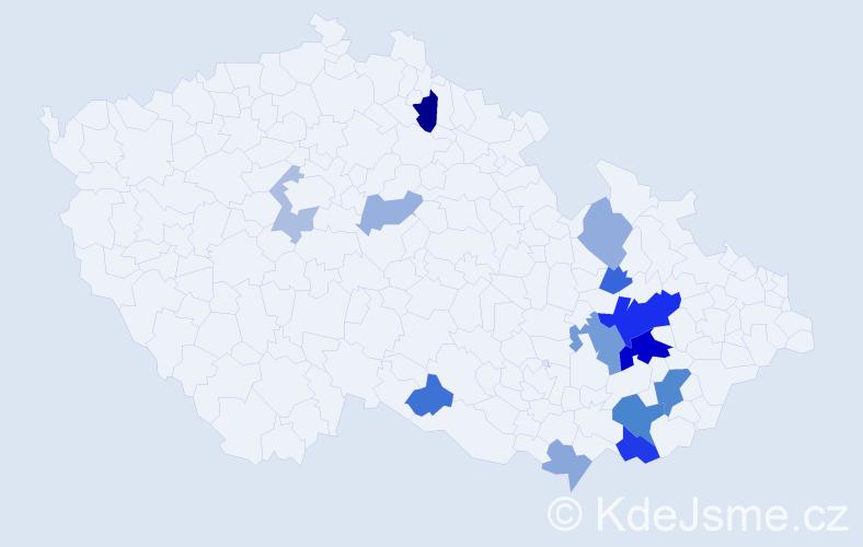 Příjmení: 'Inderka', počet výskytů 29 v celé ČR