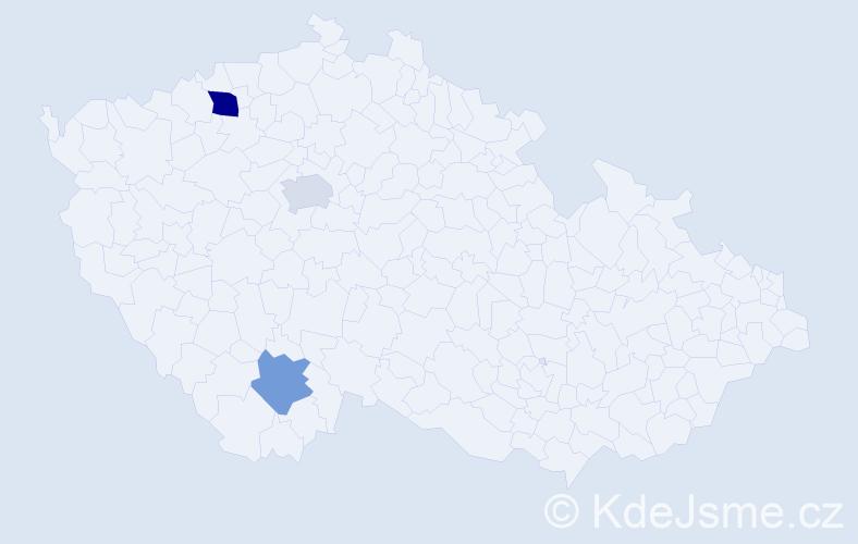 Příjmení: 'Dante', počet výskytů 4 v celé ČR