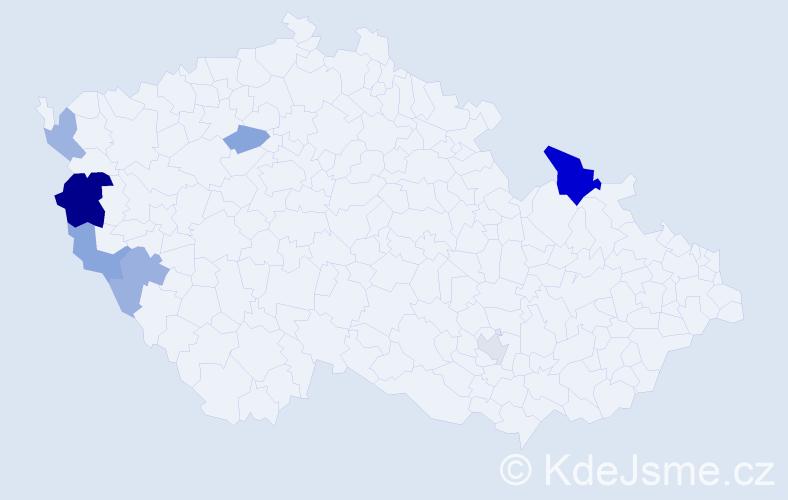 Příjmení: 'Distler', počet výskytů 13 v celé ČR