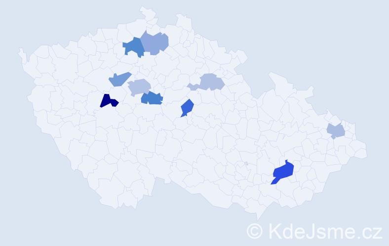 Příjmení: 'Čistý', počet výskytů 22 v celé ČR