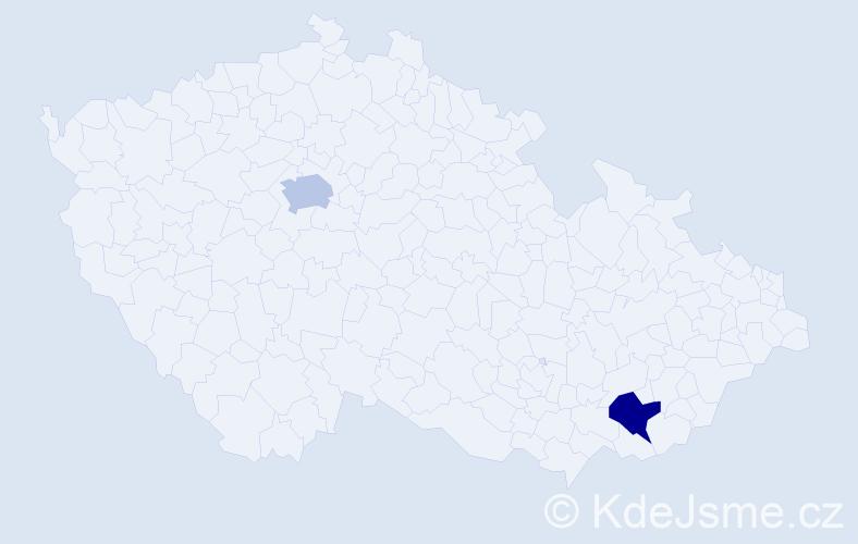 Příjmení: 'Armah', počet výskytů 2 v celé ČR
